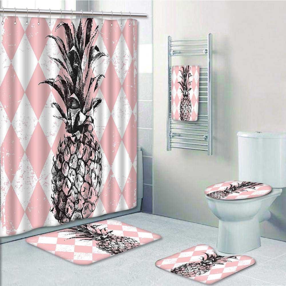 best PRUNUS 5-piece Bathroom Set-Includes Shower Curtain Liner, Sketchy Figure on Rhombus Kitsch Print Pink BlackDecorate the bathroom(Medium size)