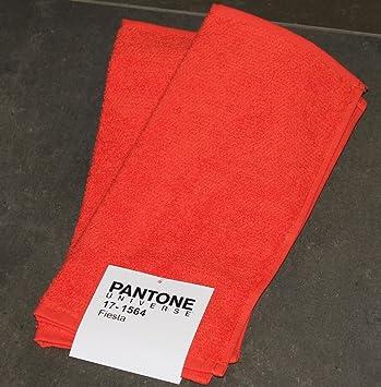 Juego 2 Toallas Pantone by Bassetti 17 - 1564 Fiesta Rojo Claro Liso cm 30 X 30 100% Esponja de puro algodón: Amazon.es: Hogar