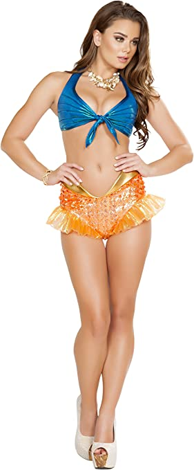 Roma Womens Ravewear Festival Two Tone Leatherette Short Set with Bikini Top