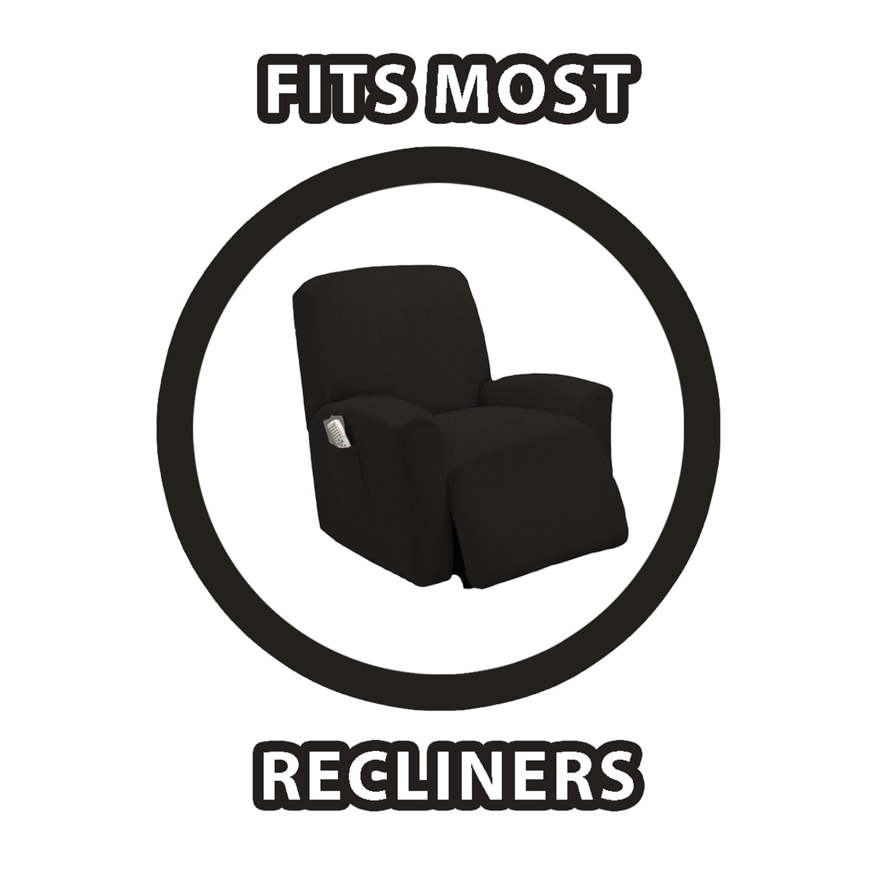 Queen Linens One Piece Stretch Recliner Slipcover, Stretch Fit Furniture Chair Recliner Lazy Boy Cover Slipcover, Estella (Black) by Queen Linens (Image #2)
