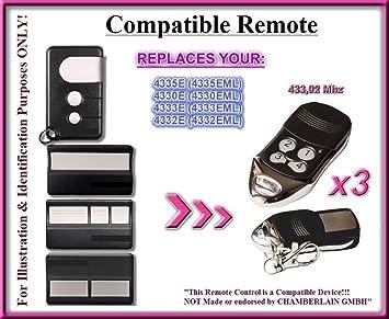 433,92 MHz télécommandes télécommande compatible avec porte de garage Sésame 200