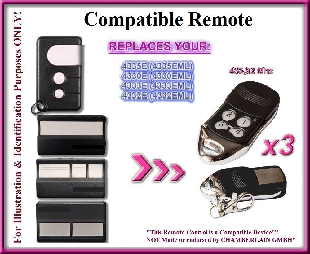 4335E Compatible T/él/écommandes 4332E 3 Emetteurs de haute qualit/é pour LE MEILLEUR PRIX!!!! 4333E 3 X Chamberlain 4330E 4 canaux 433,92Mhz rolling code remplacement