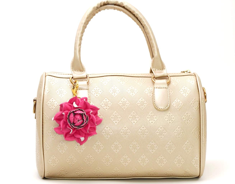 Floral Hook Real Leather Purse Charm Sun Flower Blue Keychain Flower Leather Genuine Bag Charm Handbag Zipper Charm Accessories