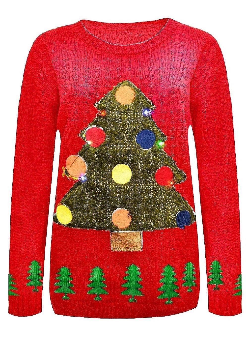 Janisramone Damen Herren Unisex M/änner Weihnachtsbaum Aufhellen Rudolph Neuheit LED Pullover Pullover