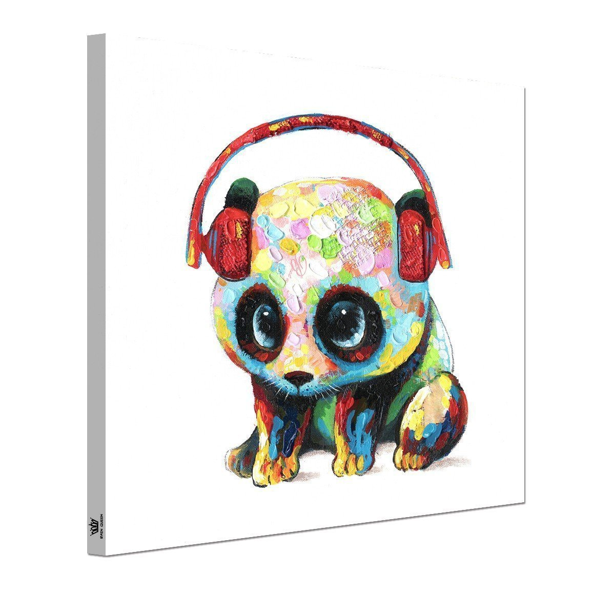Animals Canvas Wall Art, Modern Animals Painting Music Panda Art Oil Painting Prints on Canvas, Stretched &Framed, Ideal Home Decor for Kitchen, Kids Bedroom, Living Room - Ready to Hang 20X20 inch