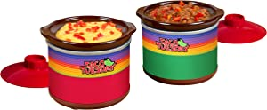 Nostalgia Taco Tuesday Two Mini Fiesta Dippers, 0.65 Qt. Capacity, Includes Lid, Perfect For Queso, Chili, Beans, Chicken, Beef, Red/Green