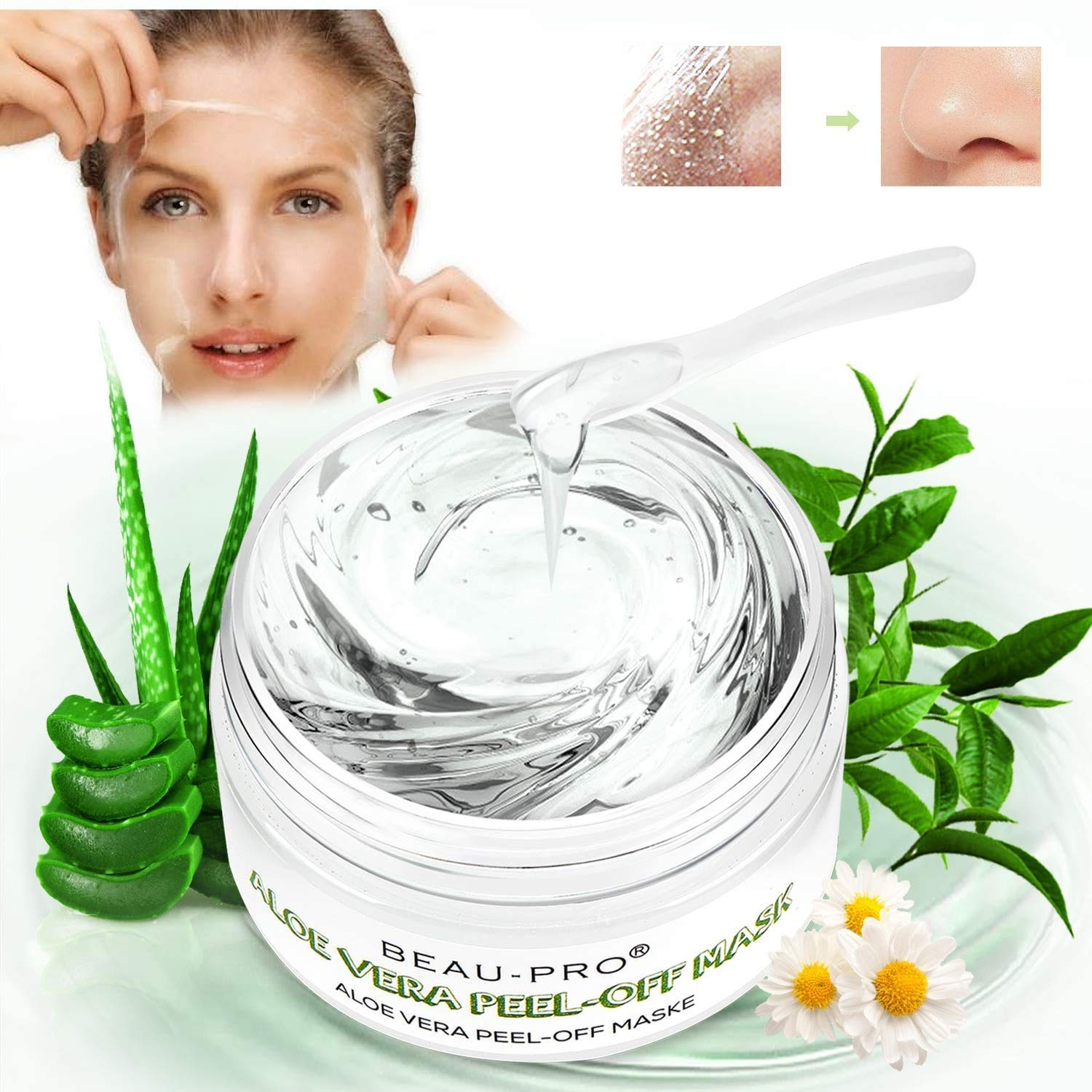 Blackhead Remover Mask Peel Off Face Masks Aloe Vera with Tea Tree Oil Mask,Deep Cleansing Skin Care for All Skin Types 100 ml