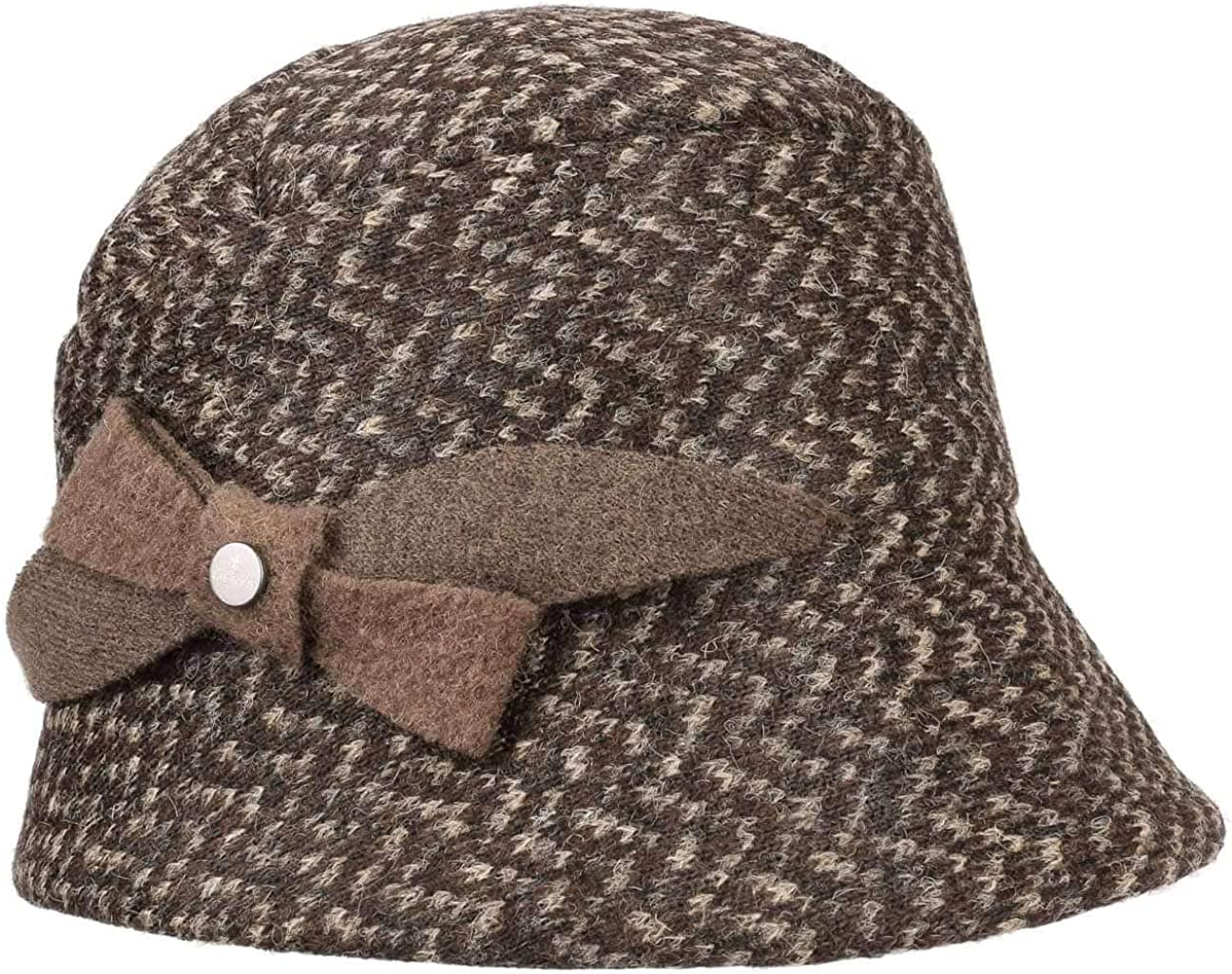 Lierys Gold Harris Tweed Damenhut mit Kaschmir Wollhut Winterhut Glockenhut Damen Futter Herbst-Winter Made in Italy Futter