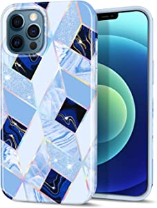 """CAOUME Compatible with iPhone 12 Pro Max Case Blue Geometric Marble Design Sparkly Glitter Protective Stylish Slim Thin Cute Holographic Cases for Apple Phone 6.7"""" 2020, Soft TPU Silicone Bumper"""