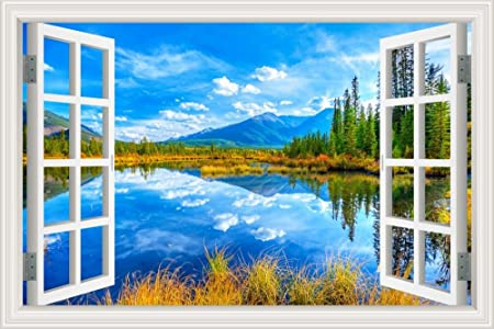 Asenart 3d Wallpaper Wall Sticker Mural Art View Of Autumn Beautiful Blue Sky In The Lake Scenery Vinyl For Dinning Room Home Decor 28 X40