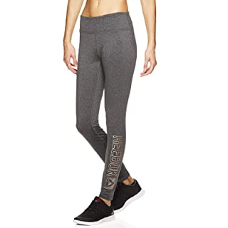 Reebok Women's Fleece Lined Legging - Full Length Performance Compression Workout Pants