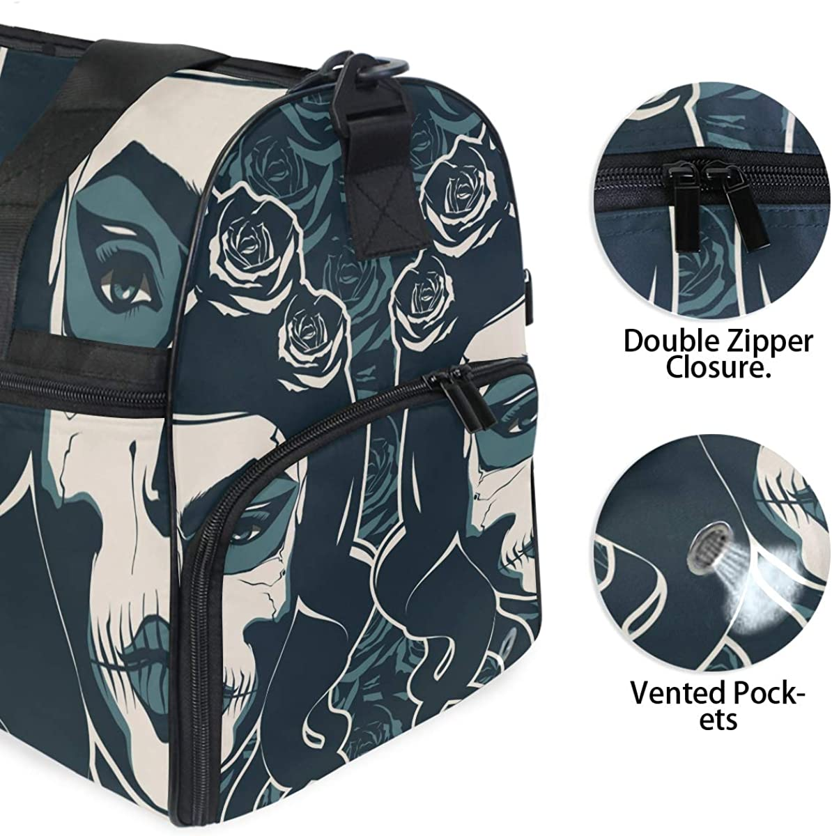 Large Capacity Travel Bag Sugar Skull Girl Day Of The Dead Gym Bag for Men Women With Shoe Compartment Sports Bag