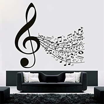 DECOR Kafe Home Decor Music Notes Wall Sticker, Wall Sticker for Bedroom, Wall Art, Wall Poster (PVC Vinyl, 81 X 76 cm) Wall Stickers at amazon