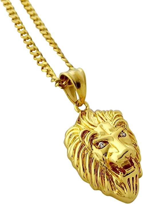 Men/'s 18k Gold Filled Lion Head Pendant Necklace Chain  24/'/' inch