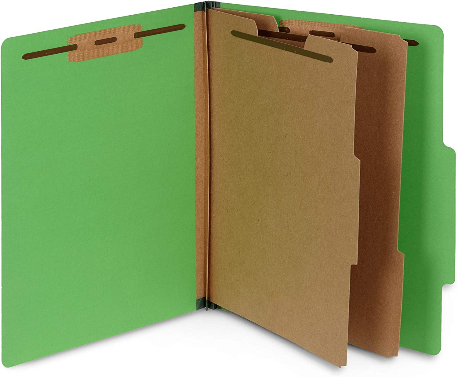 10 Green Classification Folders, 2 Divider, 2 Inch Tyvek expansions, Durable 2 Prongs Designed to Organize Standard Medical Files, Law Client Files, Office Reports, Letter Size, Green, 10 Pack