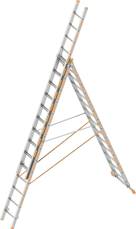 Layher 1040014 – Escalera multiusos Topic, aluminio escalera 3 piezas 3 x 14 peldaños, extensible, ambos lados, plegable, longitud 10,05 m: Amazon.es: Bricolaje y herramientas