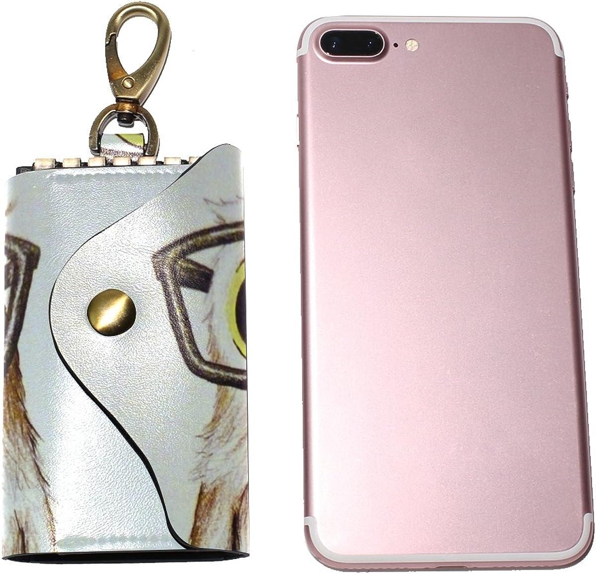 DEYYA Intelectual-Owl Leather Key Case Wallets Unisex Keychain Key Holder with 6 Hooks Snap Closure