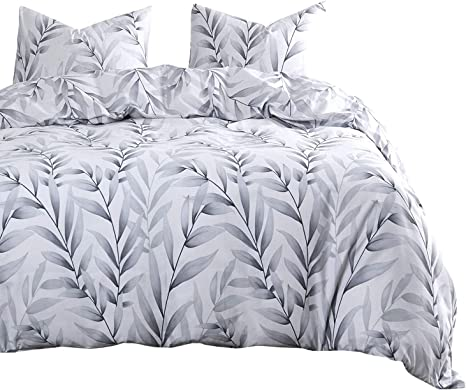 Wake In Cloud White Floral Flower Modern Pattern Printed on Dark Gray 100/% Soft Cotton Bedding 3pcs, Twin Size with Zipper Closure Grey Duvet Cover Set