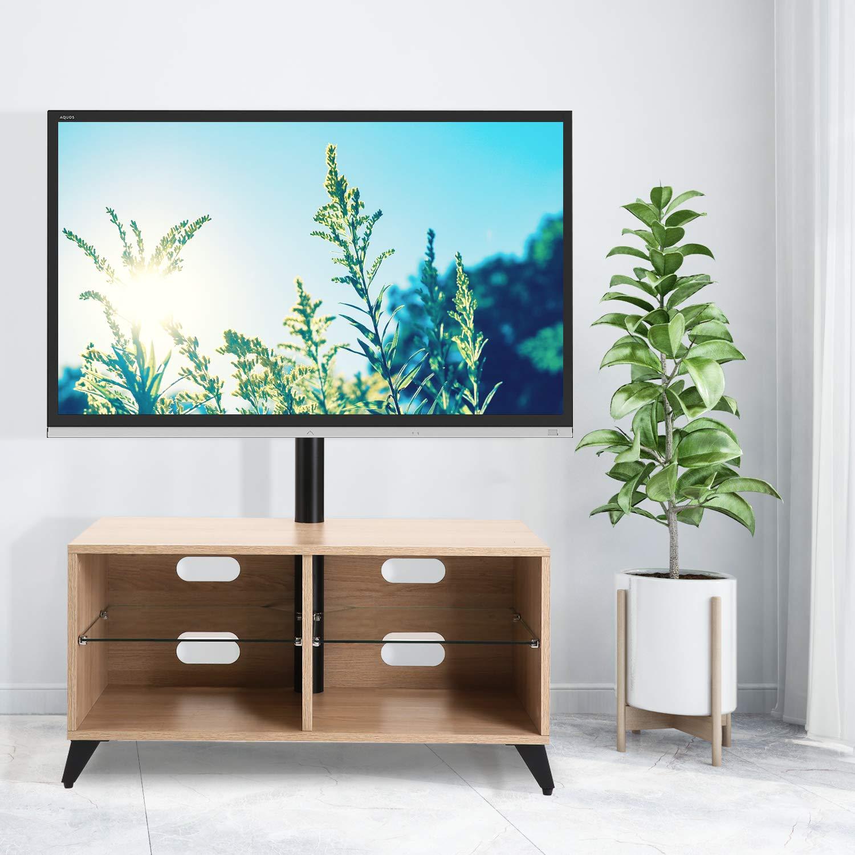 RFIVER Meuble TV Scandinave Mobile sur roulettes avec Support Pivotant et R/églables en Hauteur pour T/él/éviseurs Plats et Courbes de 32 /à 55 Pouces Noyer TW5004