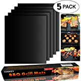 Cookey BBQ Grill Mat Set of 5 - Non Stick Oven Liner Teflon Cooking Mats - Perfect for Baking on Gas, Charcoal, Oven and Electric Grills - Reusable, Durable, Heat Resistant Barbecue Sheets For Grilling Meat, Veggies, Seafood