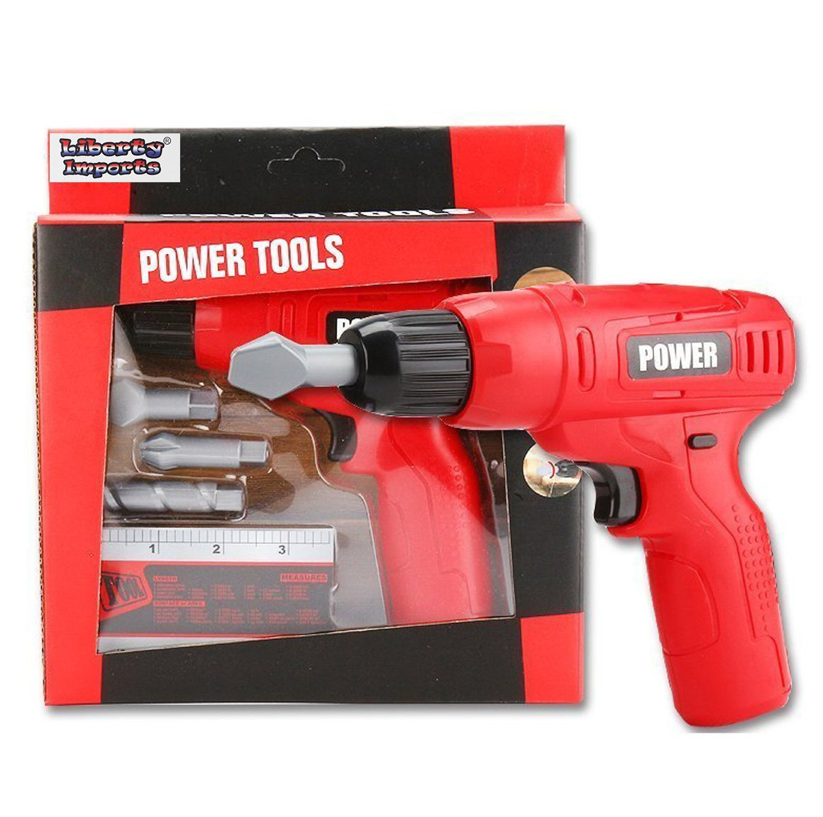 Liberty Imports Power Tools Mini Toy Set with 3 Drill Bits T1405