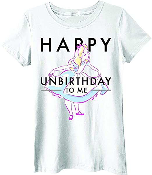 24b2fc18b Image Unavailable. Image not available for. Color: Disney Alice in  Wonderland Happy Unbirthday Juniors T-Shirt … (Extra Large, White