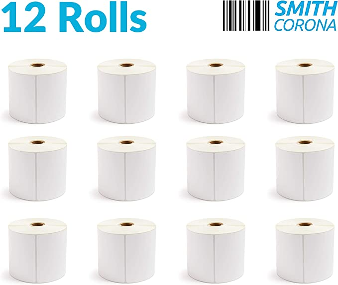 4 Rolls - 5400 Labels//Roll 4x1 Thermal Transfer Labels Smith Corona 3 Core