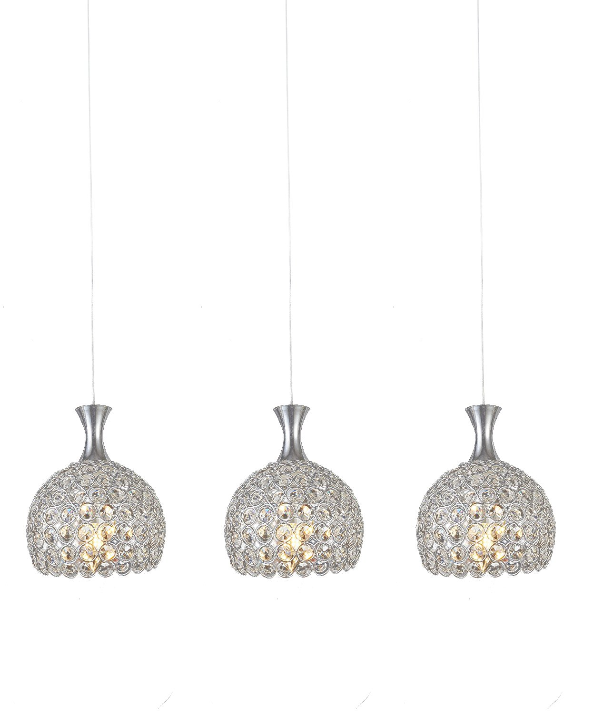 Lightess Hanging Chandelier Lighting 3 Lights Crystal Pendant Light Fixtures Modern Flush Mount Ceiling Lamp