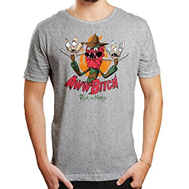 Rick and Morty Camiseta de Hombre Aww Bitch Scary Terry Gray: Amazon.es: Ropa y accesorios
