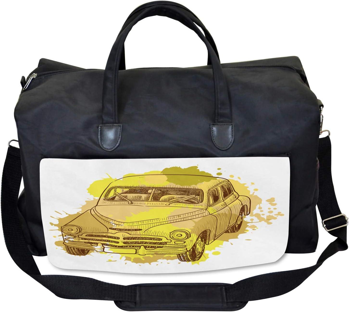 Large Weekender Carry-on Ambesonne Gym Bag Retro Car Splash Artsy