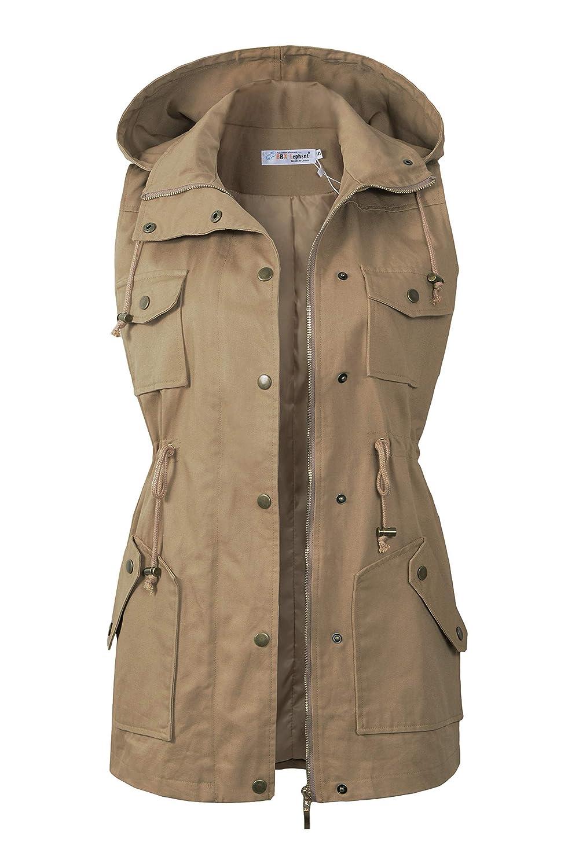 BBX Lephsnt Womens Anorak Vest Lightweight Drawstring Waist Military Sleeveless Jacket
