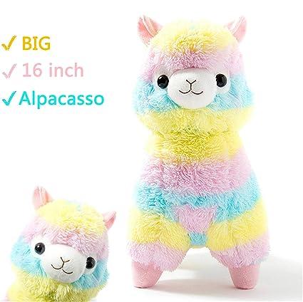 Amazon Com Alpacasso Rainbow Plush Alpaca Stuffed Toy 16 Inch