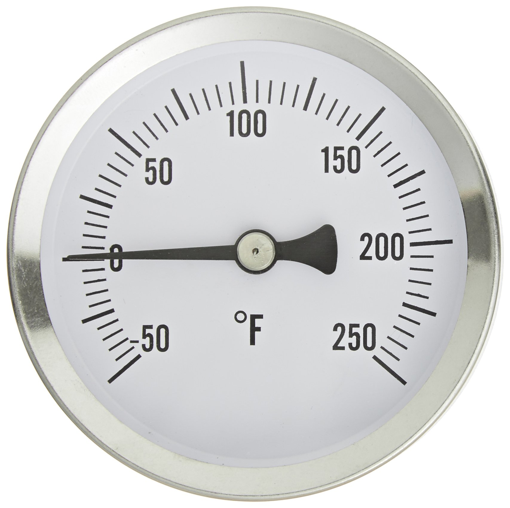 PIC Gauge B2SS-A 2.5'' Dial Size, -40/120°F, Surface Mount, Straight, Lower Mount Connection, Stainless Steel Case, 316 Stainless Steel Stem Bimetal Thermometer