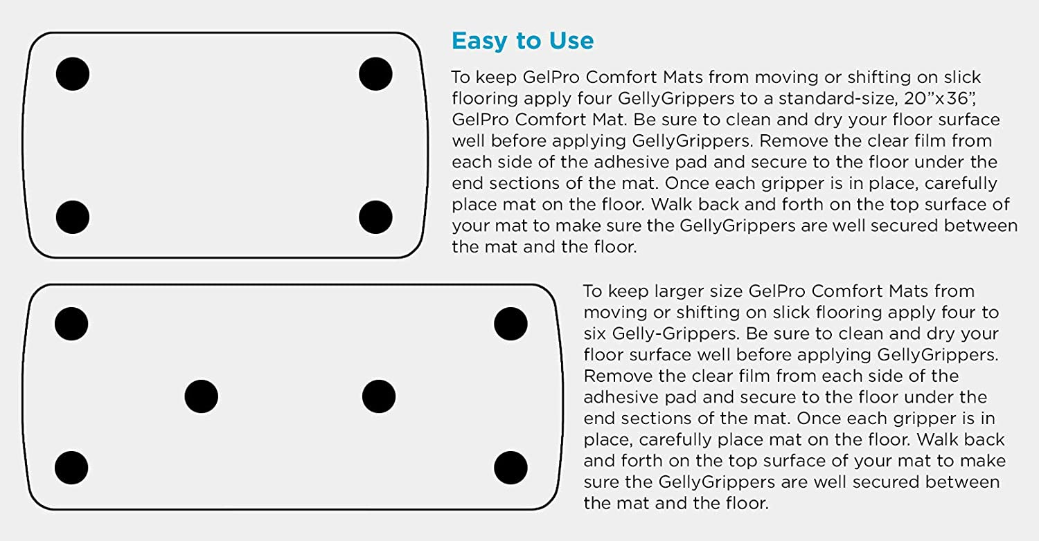 Gripper Gels Stick On Tile//Hardwood Floors or Car Dash 4 Pack GelPro Non Slip Sticky GellyGripper 3 Adhesive Anti Skid Grip Pad for Under Area Rug//Standing Desk Mat or to Hold Phones