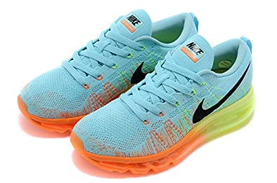 the latest e879b 1dc5e Image Unavailable. Image not available for. Colour  NIKE Flyknit AIR MAX  2014 Men s Running Shoes Size 7.5M Black Orange Blue