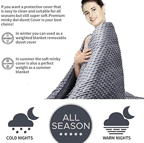 JYhoney Grey Duvet Cover for Weighted Blanket 60 x 80 Modern Grey Plush Cotton Minky Dot Removable Comforter Blanket Cover Kids Adults Breathable Heavyweight Reversible Bed Throw Weighted Blanket
