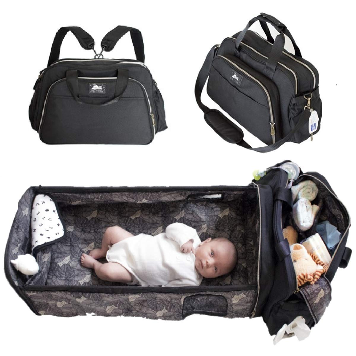 Portable Travel Bassinet for Baby with Large Diaper Bag Backpack (Black) - Functions as Easy Folding Baby Bed for Travel with Change Station - Laluka