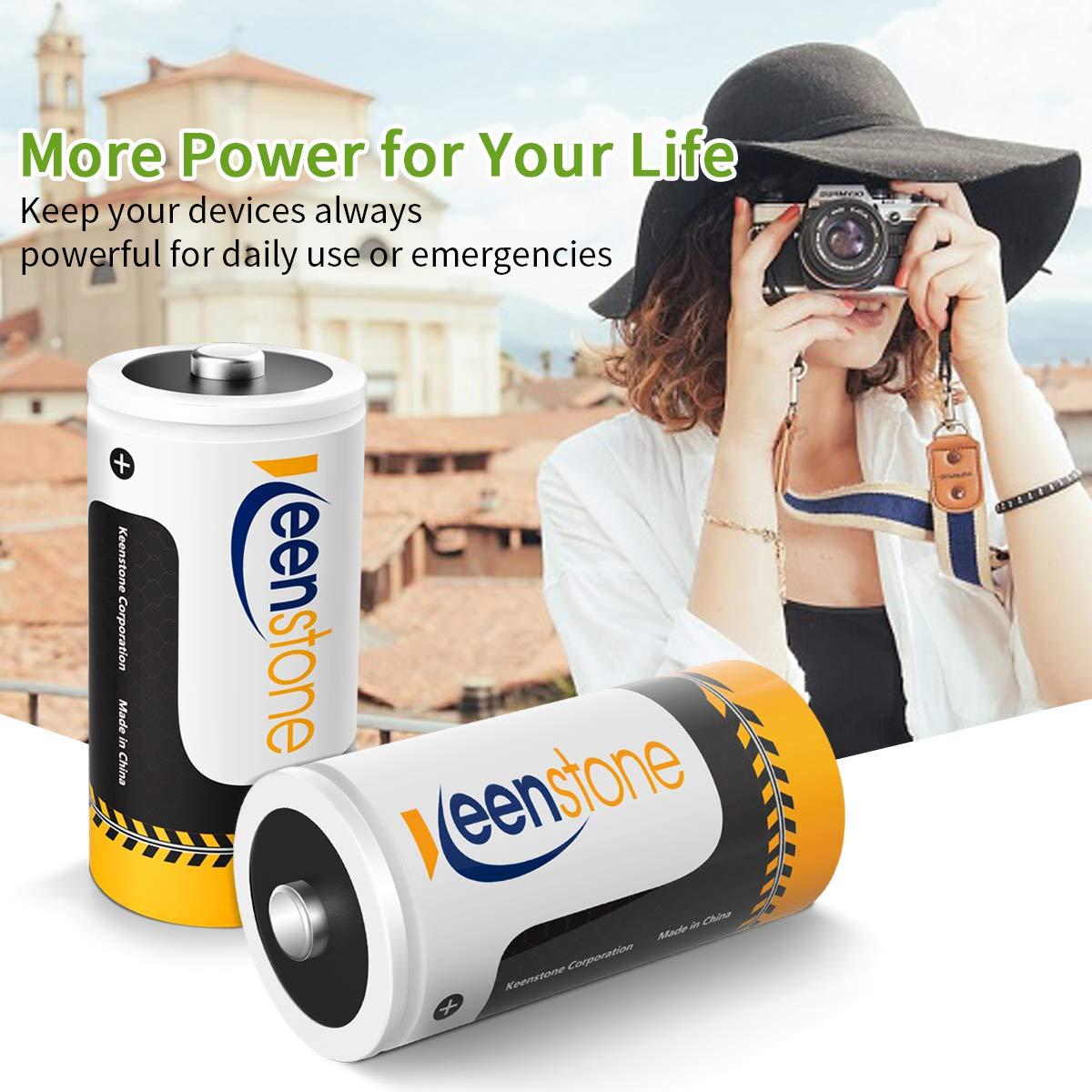 Keenstone D Size 4PCS Pilas Ni-MH Recargables Batería 1.2V 10000mAh 1200 Ciclos Potencia Ultra y Rendimiento Alto, con Cajas de Almacenamiento