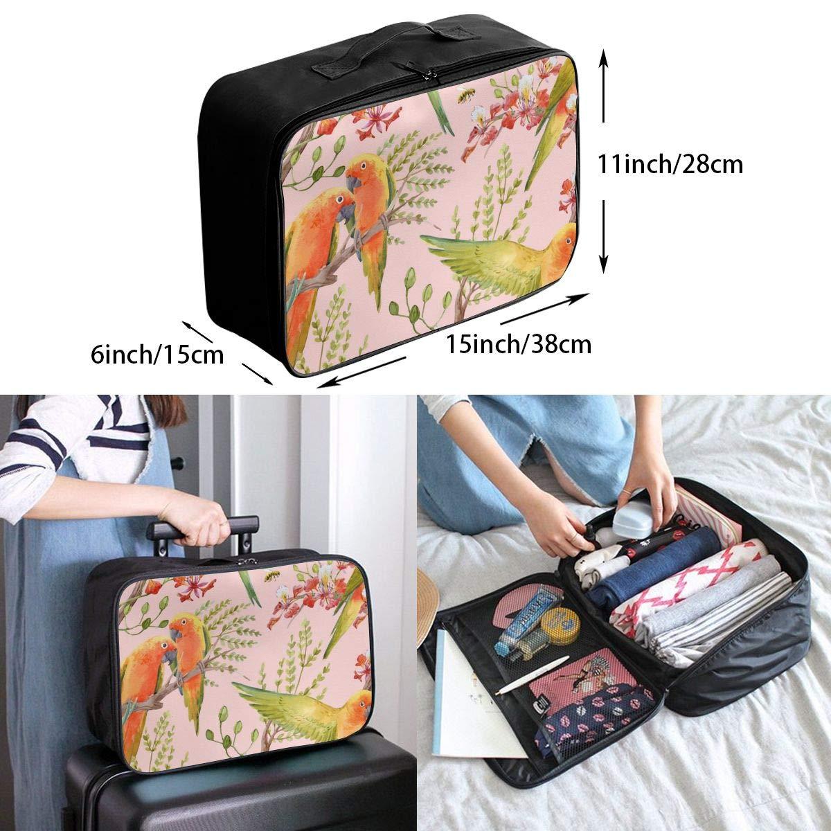 ADGAI Parrot Couple Canvas Travel Weekender Bag,Fashion Custom Lightweight Large Capacity Portable Luggage Bag,Suitcase Trolley Bag