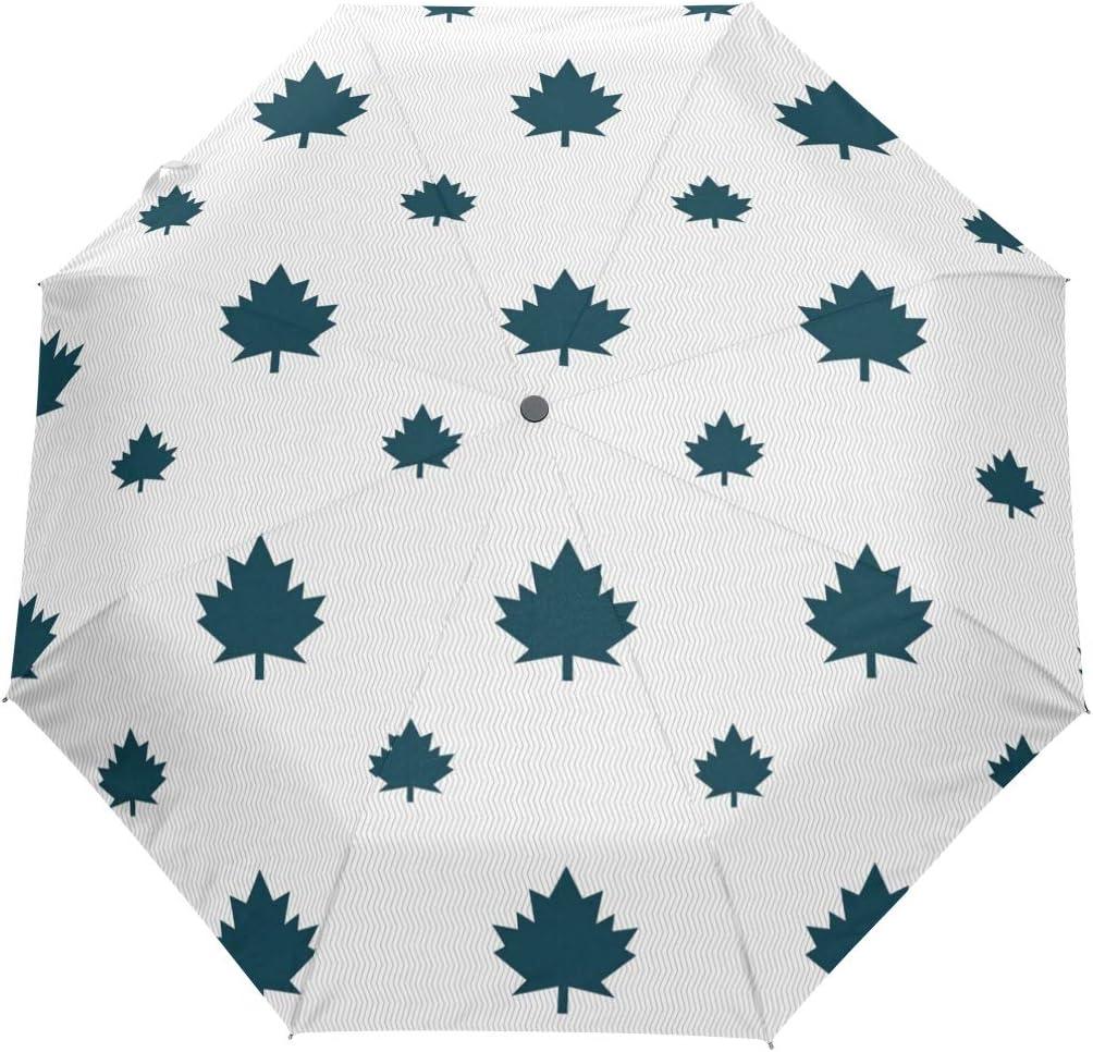 Green Maple Leaf Patch fashion print cute Windproof automatic tri-fold umbrella sun UV protection Sun umbrella