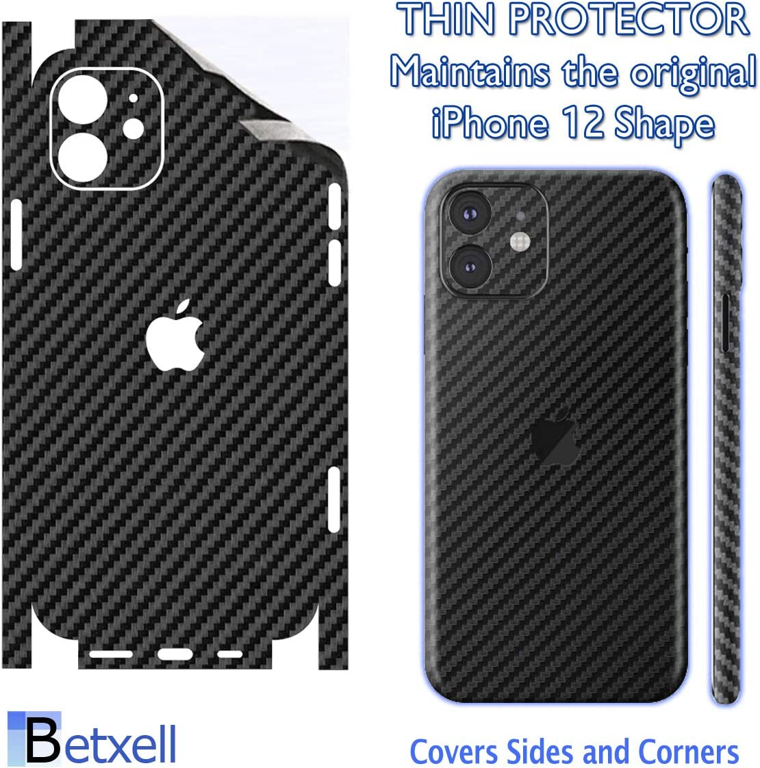 for iPhone 12 Carbon Fiber 3M Film for iPhone 12 Skin Wrap Protective Around Borders and Back Thin 3D Elegant Skin