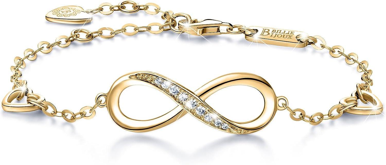 Billie Bijoux Pulsera de Plata esterlina Mujer Símbolo Amor Infinito Brazalete de Mujer Ajustable Regalo Ideal el día de San Valentín