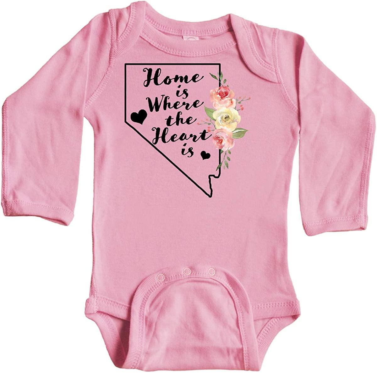 inktastic Nevada Home is Where The Heart is with Watercolor Long Sleeve Creeper