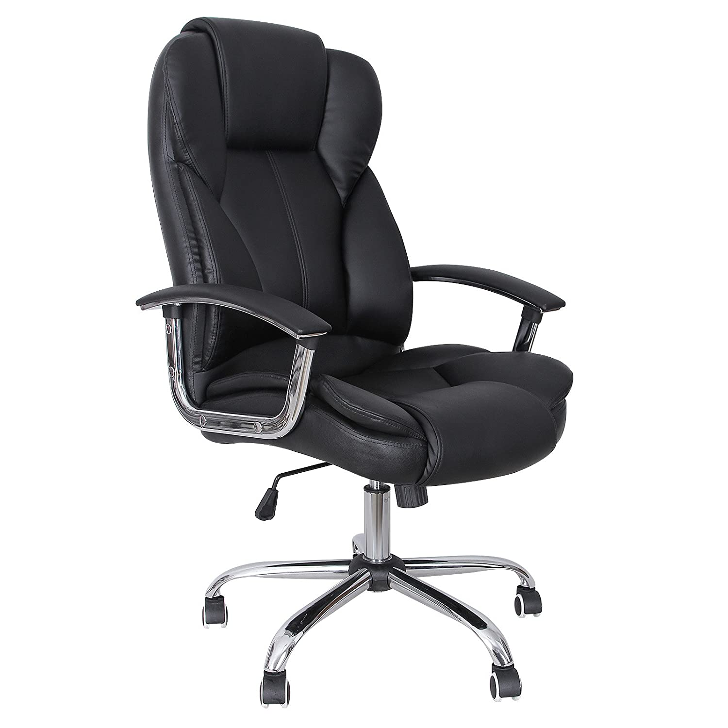 Delicieux Amazon.com: SONGMICS Office Chair With High Back Large Seat And Tilt  Function Executive Swivel Computer Chair PU Black UOBG57B: Kitchen U0026 Dining