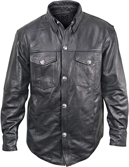 Xelement XS-921G Mens Distress Dark Gray Vintage Style Leather Shirt with Buffalo Buttons 3X-Large