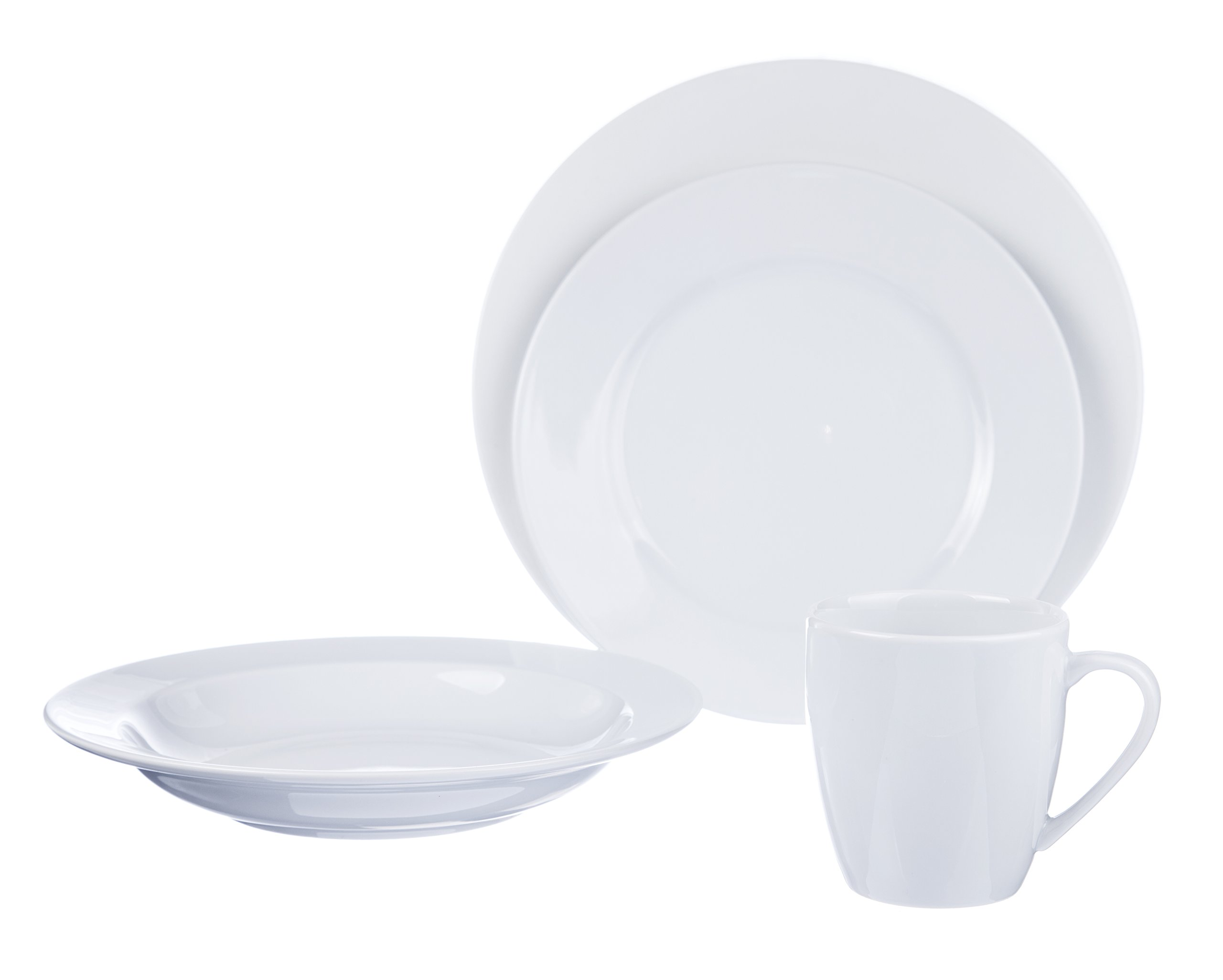 4-Piece DINNERWARE Set (for 1 person), White Porcelain, Restaurant&Hotel Quality