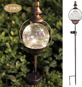 ExcMark Solar Garden Lights Outdoor Decorative Stakes, Outdoor Decorations for Patio Lawn Garden Yard with Solar Globe Light.