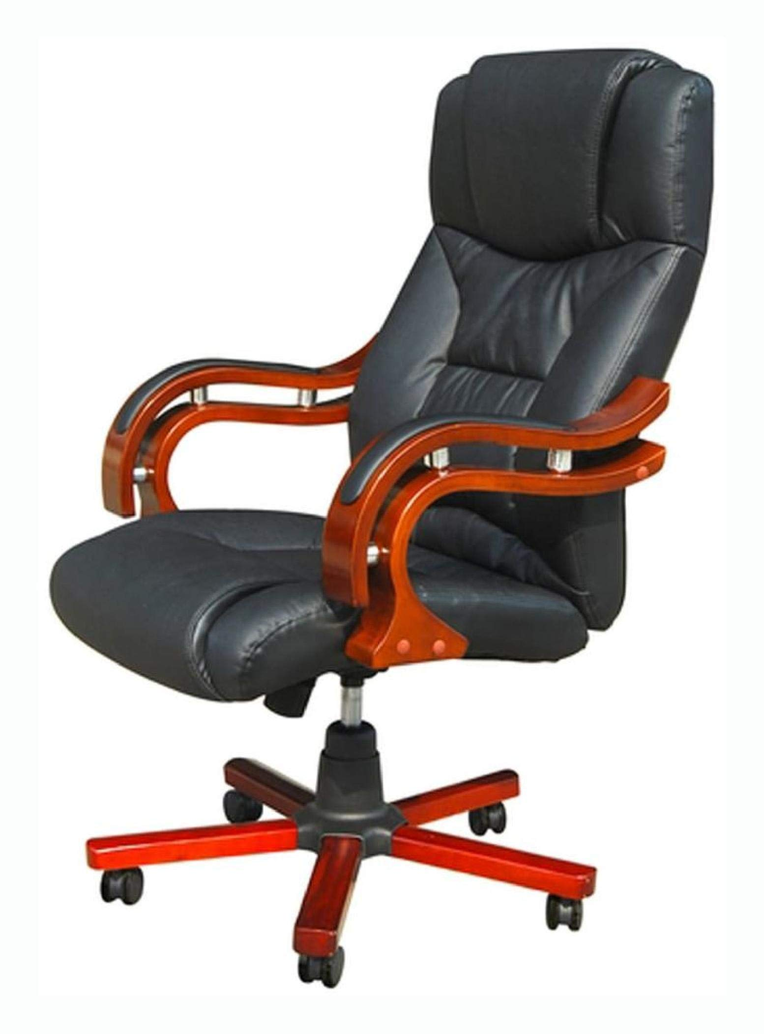 Office Chair, Black Real Leather Office Chair by HomyDelight