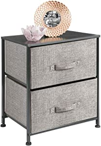 mDesign Night Stand/End Table Storage Tower - Sturdy Steel Frame, Wood Top, Easy Pull Fabric Bins - Organizer Unit for Bedroom, Hallway, Entryway, Closets - 2 Drawers - Gray/Black