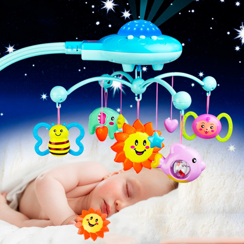 Seaskyer Baby Bed Bell Toys Crib Mobile Musical,Plastic Hanging Rattles Stars Light Flash, Music Box for Kids Newborn Baby Infant (Blue)